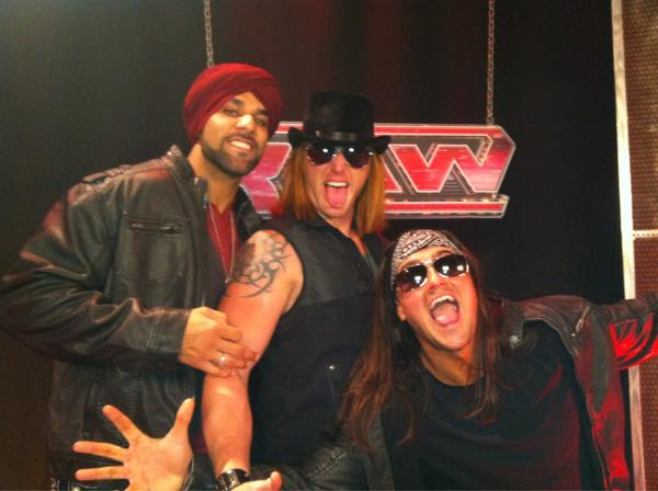 The 3-Man Band, feat (from left to right): Jinder Mahal, Heath Slater, and Drew McIntyre