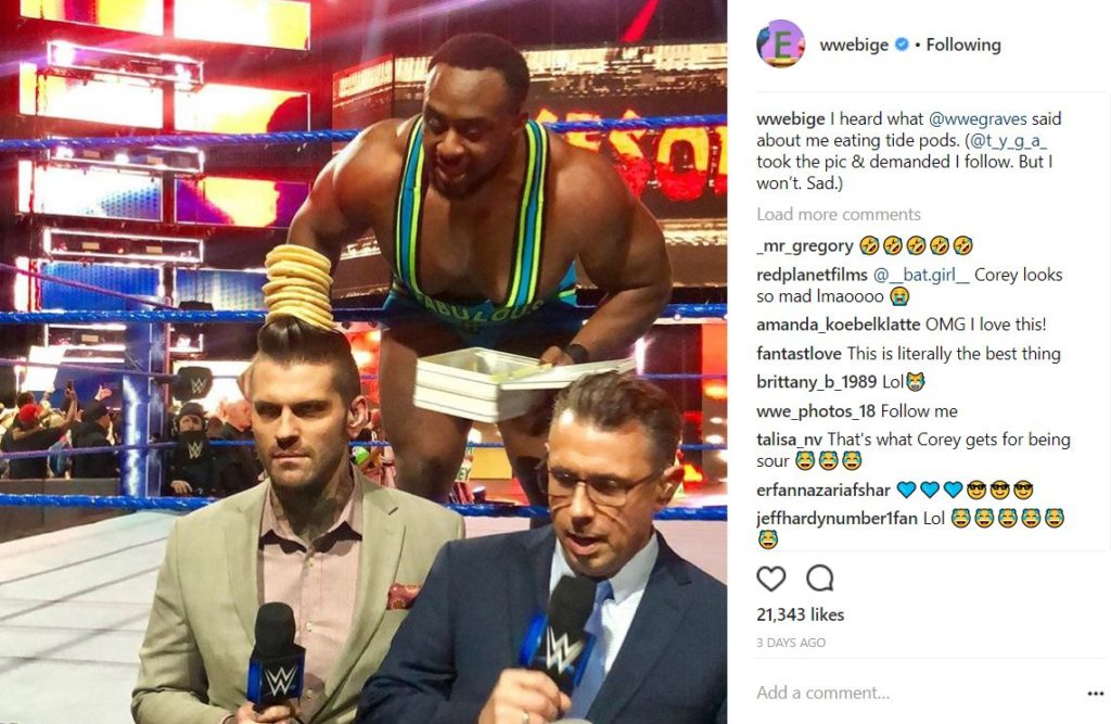 Big E's Instagram post about stacking pancakes on Corey Graves' head