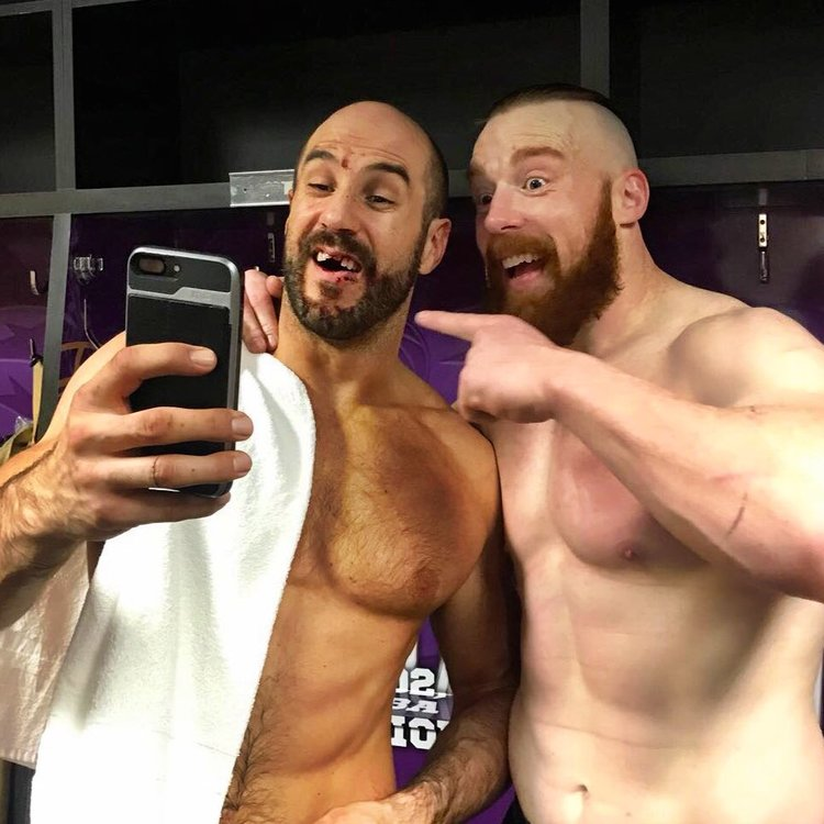 Cesaro and Sheamus show off the damage from their tag team title bout