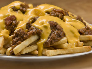 Chili cheese fries with nacho cheese