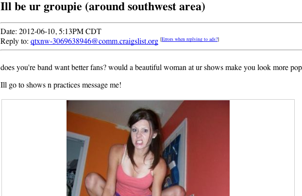 Ad on Craigslist for a band's groupie