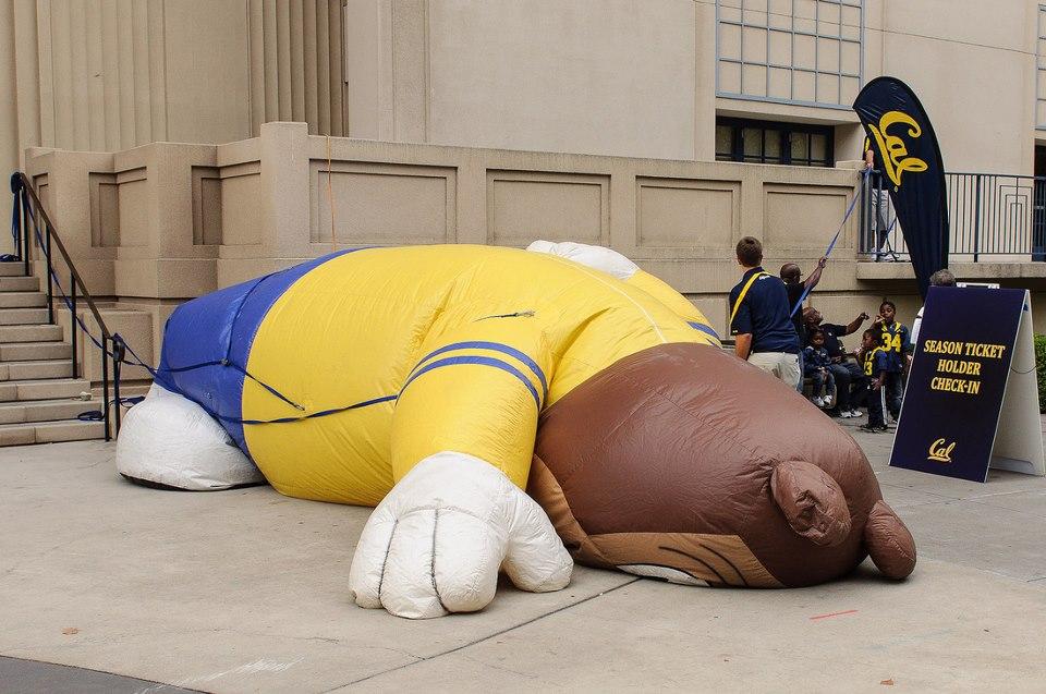 A sports mascot is deflated