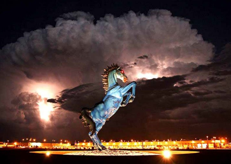 The demonic blue mustang at the Denver Airport