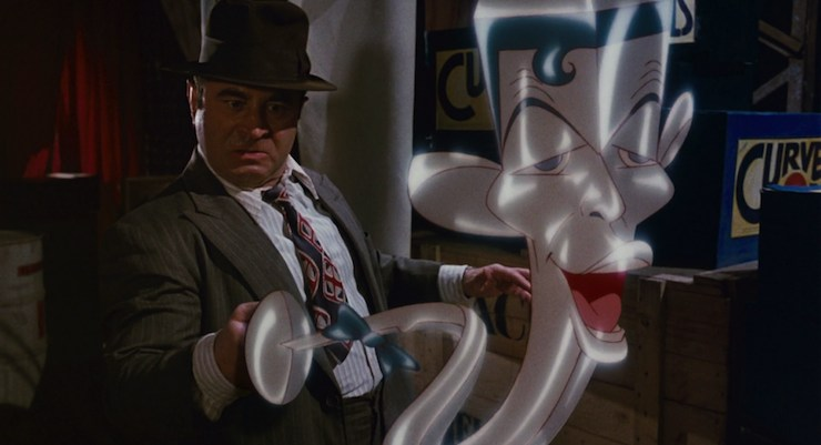Eddie Valiant from Who Framed Roger Rabbit holds the singing sword