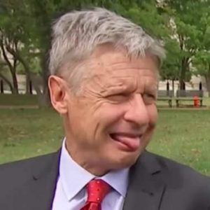 Gary Johnson sticks out his tongue
