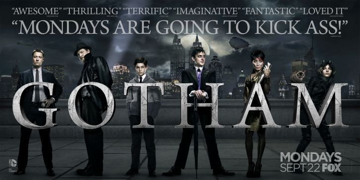 The cast of Gotham, now on Fox, amidst quotes of critical praise