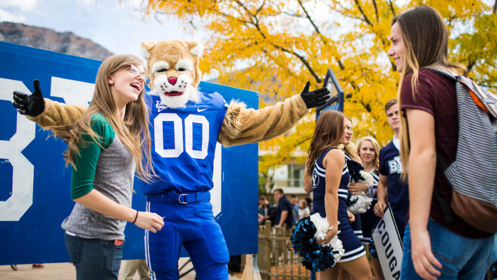 A BYU homecoming photo featuring a girl and her tiger date