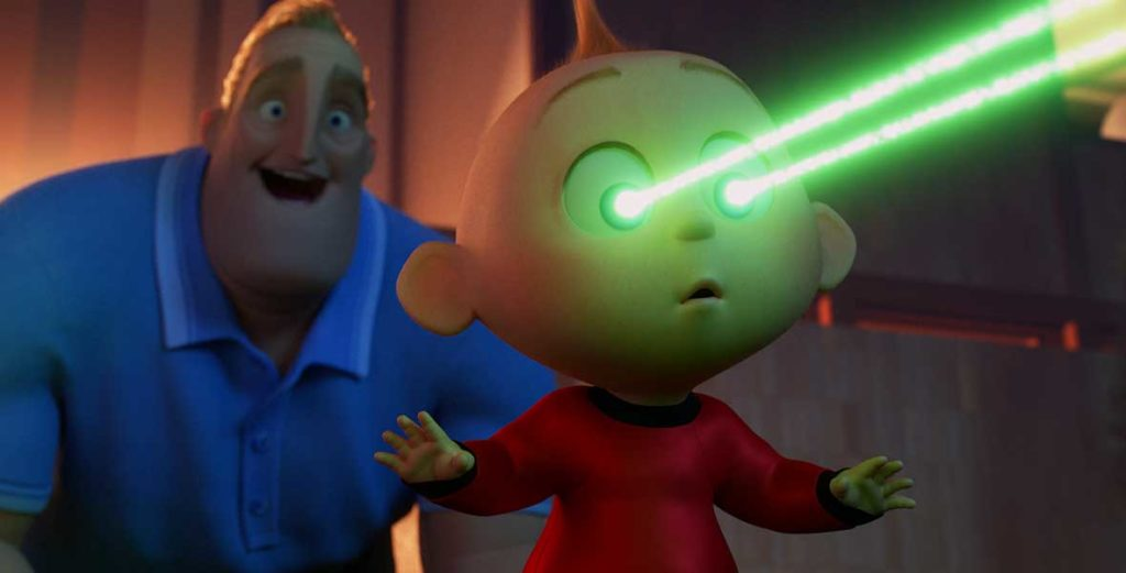 Jack Jack from The Incredibles blasts green lasers from his eyes