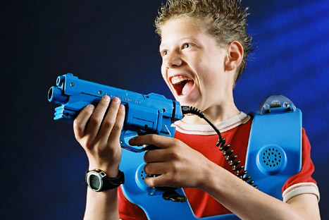 Kid way too excited about playing laser tag