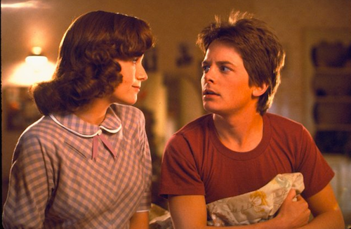 Marty McFly (Michael J. Fox) and Lorraine Baines (Lea Thompson)