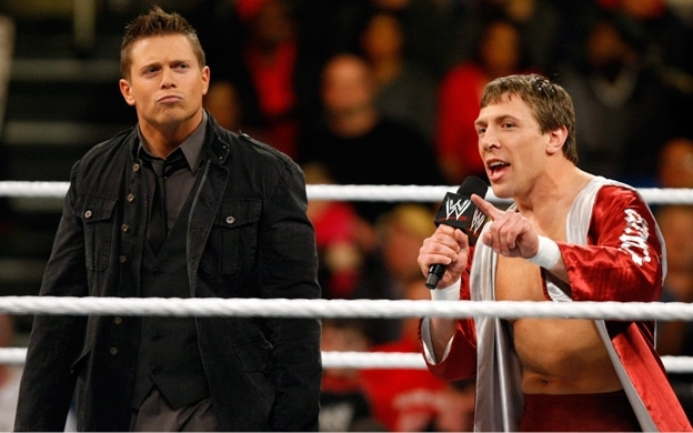 The Miz stands with his NXT trainee, Daniel Bryan