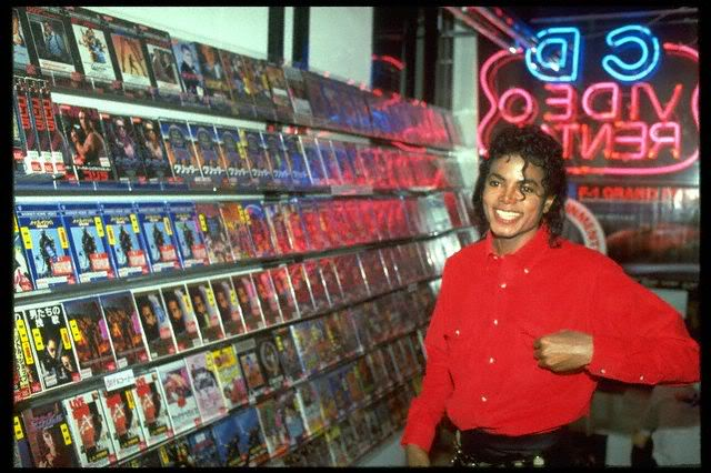 Michael Jackson at the video store