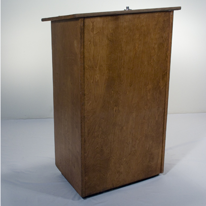 a wooden podium