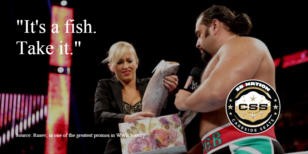 Rusev gives Summer Rae a fish as a sign of his affection (image courtesy of Cageside Seats)