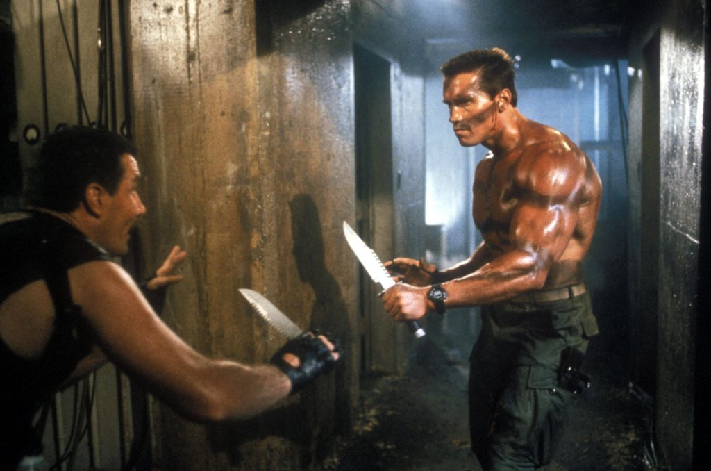 Arnold Schwarzenegger in a knife fight