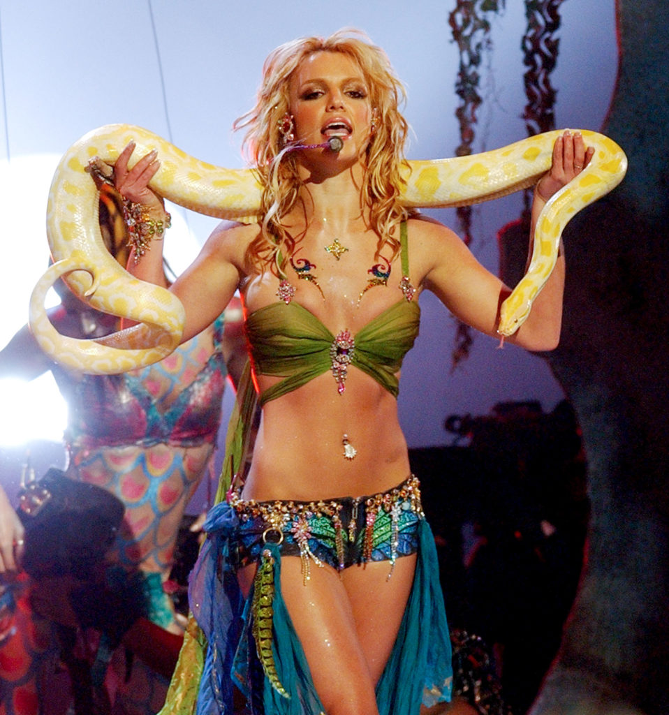 """Britney Spears holds a python in her infamous VMA performance of """"Slave 4 You"""""""