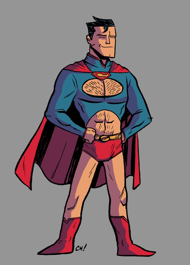 Superman, as imagined by Chris Haley, dressed like a female superhero