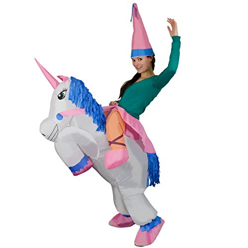 A girl in a unicorn costume