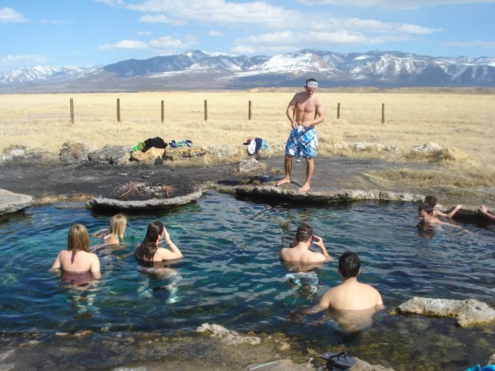 Swimmers enjoy the natural Utah hot springs