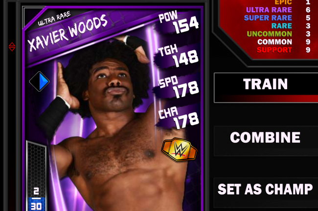 Xavier Woods in the WWE Supercard mobile game