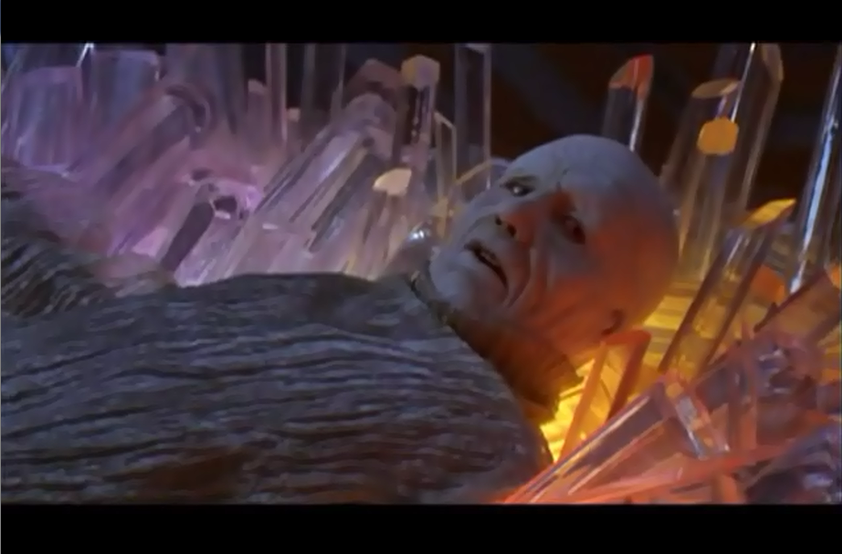 Zordon rests on a bed of crystals